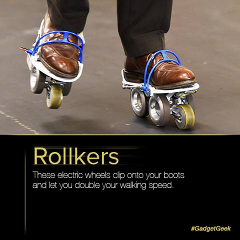 Rollkers is a transportation accessory that increases a person's average walking rate up to 7 miles per hour.  #GadgetGeek #Technology #Invention #Innovation