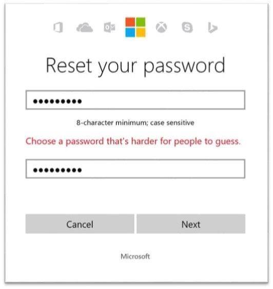 Microsoft will no longer let you use '12345' as your password!  The passwords that are being dynamically banned across Microsoft services (including Outlook, Skype, Xbox and more) are pulled from the annual