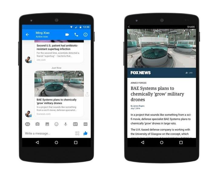 Facebook's Instant Articles are now on Messenger!  Just like Instant Articles elsewhere on Facebook, those on Messenger will include a lightning bolt in the preview to indicate that they will load as an Instant Article.
